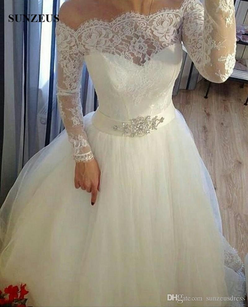 С плеча с длинным рукавом свадебные платья 2017 осень дизайн элегантные кружевные свадебные платья длинное тюль платье невесты сделано в китае