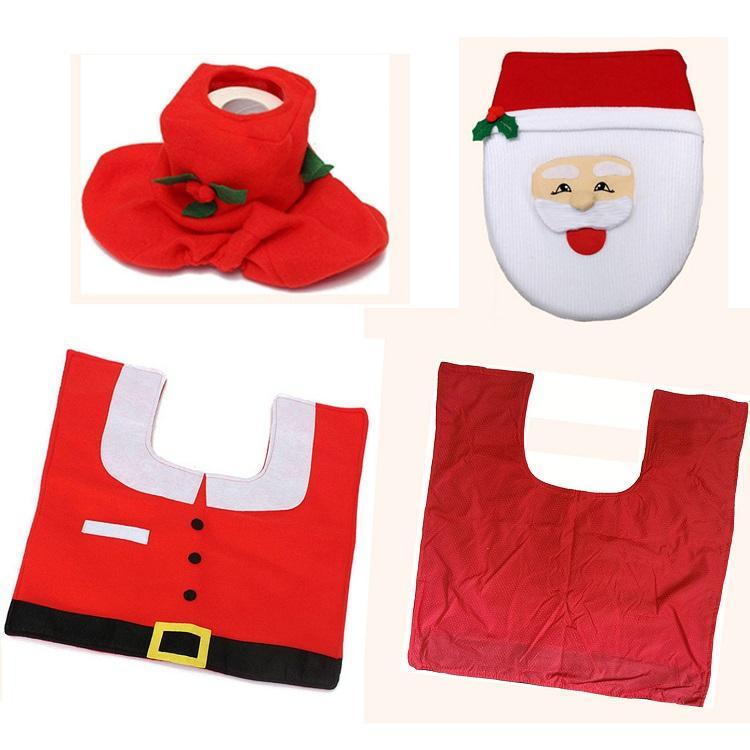 Joyeux Noël Décoration Santa Siège De Toilette Couverture Tapis De Noël Cadeau De Noël Décor Salle De Bains Set Nouvel An Fournitures Décoration