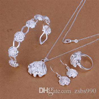 Hot Jewelry Sets Rose Necklace Ring Earrings and bangle 925 Silver Charm Birthday Gift Top Quality