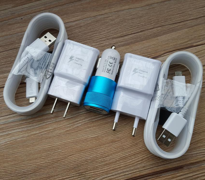 OEM Adaptive Rapid Fast Wall Charger +Car Charger +Micro 2.0 USB Cable for Samsung GalaxyS7 S6 S6 EDGE S6 edge Plus+ Note 5/4 S4/3