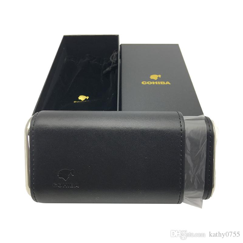 하이 엔드 COHIBA 가죽 시가 휴 미더 블랙 시가 케이스 휴대용 담배 가습기 흡연자를위한 선물 상자 무료 배송