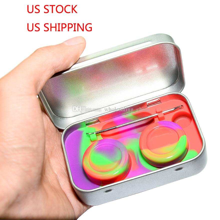 Kit di silicone Set con scatola di latta 5ml Silicone Dab contenitori cera Dabs barattoli e argento strumento di dondolo USPS SHIP