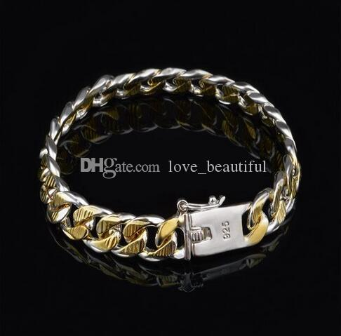 High quality Plated 925 silver Figaro chain bracelet Golden 10MMX20CM fashion jewelry for men