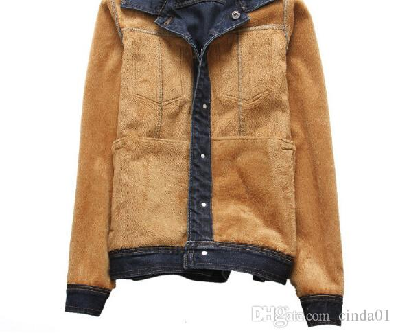 Winter Thick Fleece Coats Men Vintage Jean Warm Jackets Single Breasted Button Design Coat Autumn Outerwear