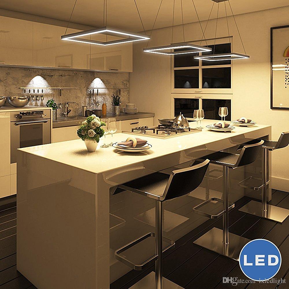 lxledlight Modern Square LED Chandelier Lighting con luz colgante ajustable, Plateado