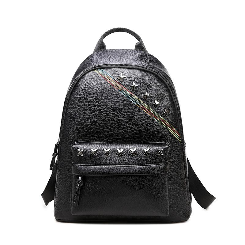 2017 Fashion Women Pu Leather Backpacks Rivets Preppy Style Girls ...