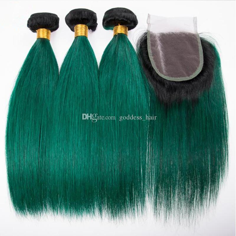 Dark Roots 1B Green Hair Weft Extensions With Lace Closure Ombre Color Silky Straight Human Hair Weaves 1B Green 3Bundles With Lace Closure