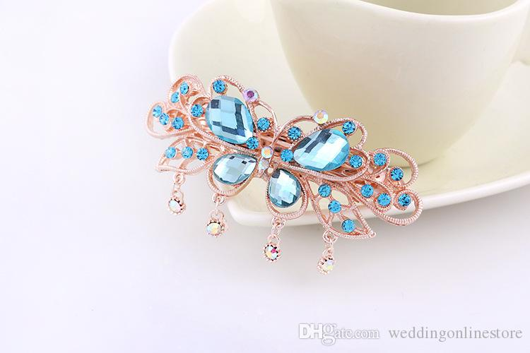 Rhinestone Bridal Hair Jewelry Rose Gold Plated Crystal Butterfly Hairpin Hair Clips Women Wedding Headpieces Hair Pins Tiara Barrette