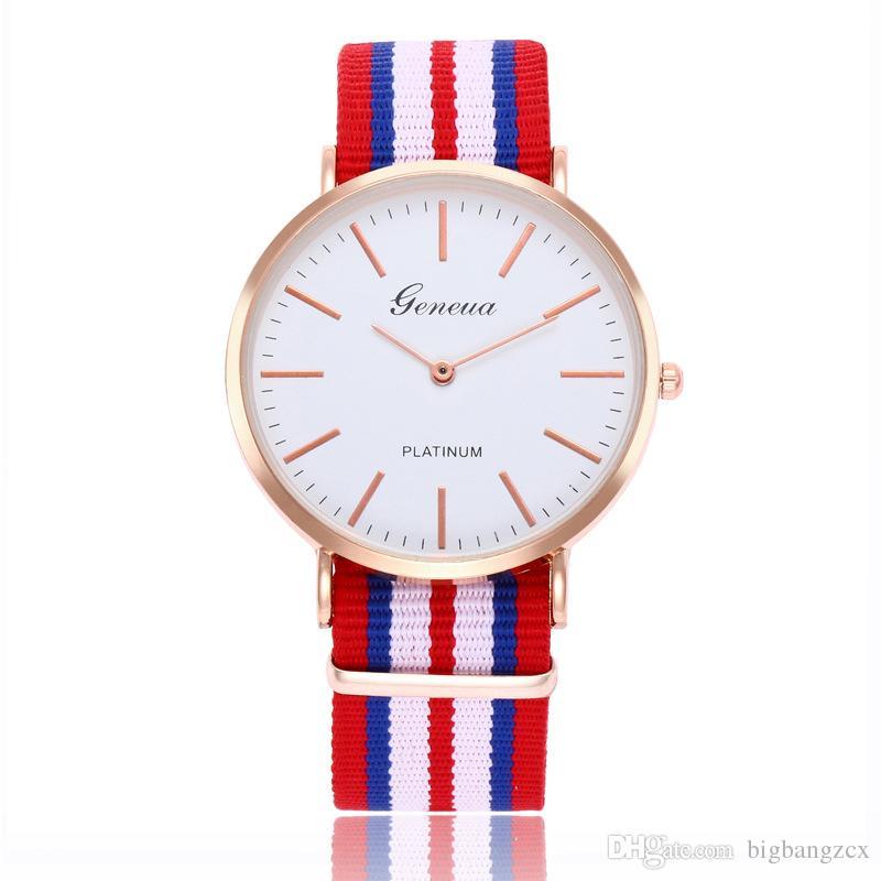 Nuovi orologi da polso da polso da uomo di moda all'aperto orologio da donna uomo cinturino in nylon orologio da quarzo ultra sottile Geneva