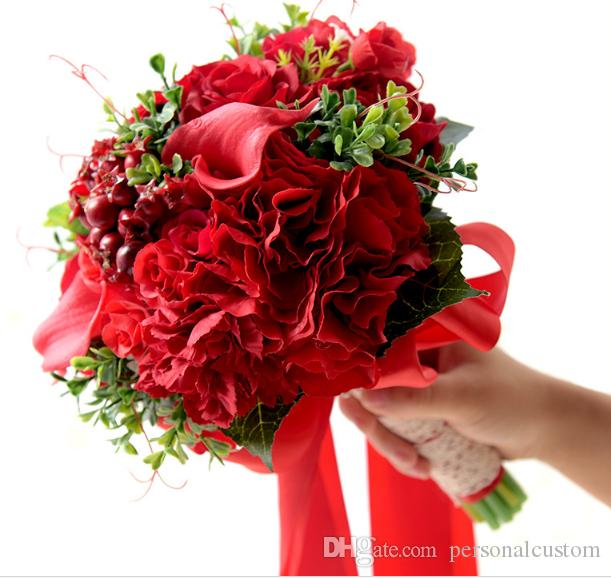Chinese Style Red Bridal Bouquets Calla Lily Rose Flowers Artificial ...