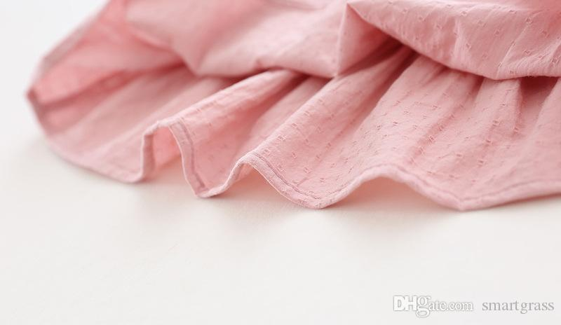 Малыш Малыш Летние Мини Платье Ruffled Рукав Сплошной Цвет Детские Повседневные Платья 4 Цвета Мода Девушка Платья 17060202