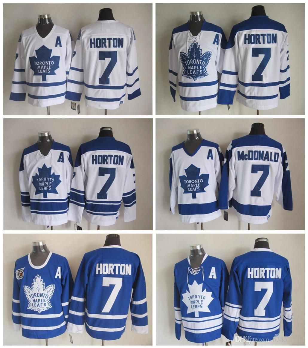 61757de54fd ... sweden 2018 nhl jersey ccm toronto maple leafs 7 tim horton throwback jersey  blue embroidery logos
