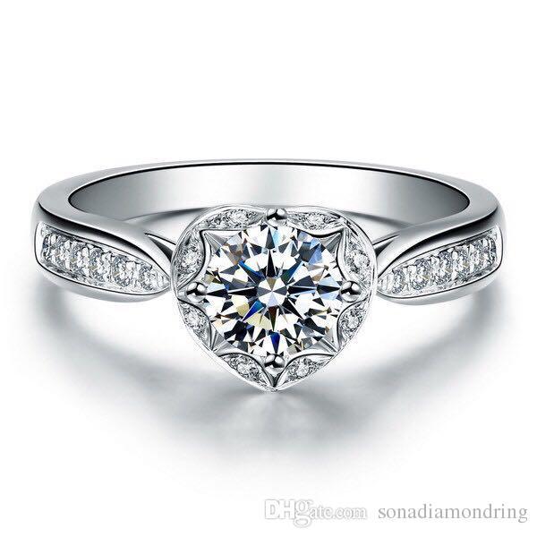 Ausgezeichnete Qualität 1CT synthetische Diamant-Ring echte feste Sterlingsilber-Ring-Weiß-Goldabdeckung Last Forever