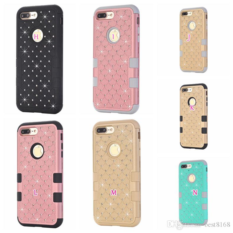 3 in 1 Diamond Crystal Rhinestone Hybrid Plastic Shock Against Dual Color Hard Silicone Gel Case For Iphone 7 / Plus / 6s / SE 5S Armor cover