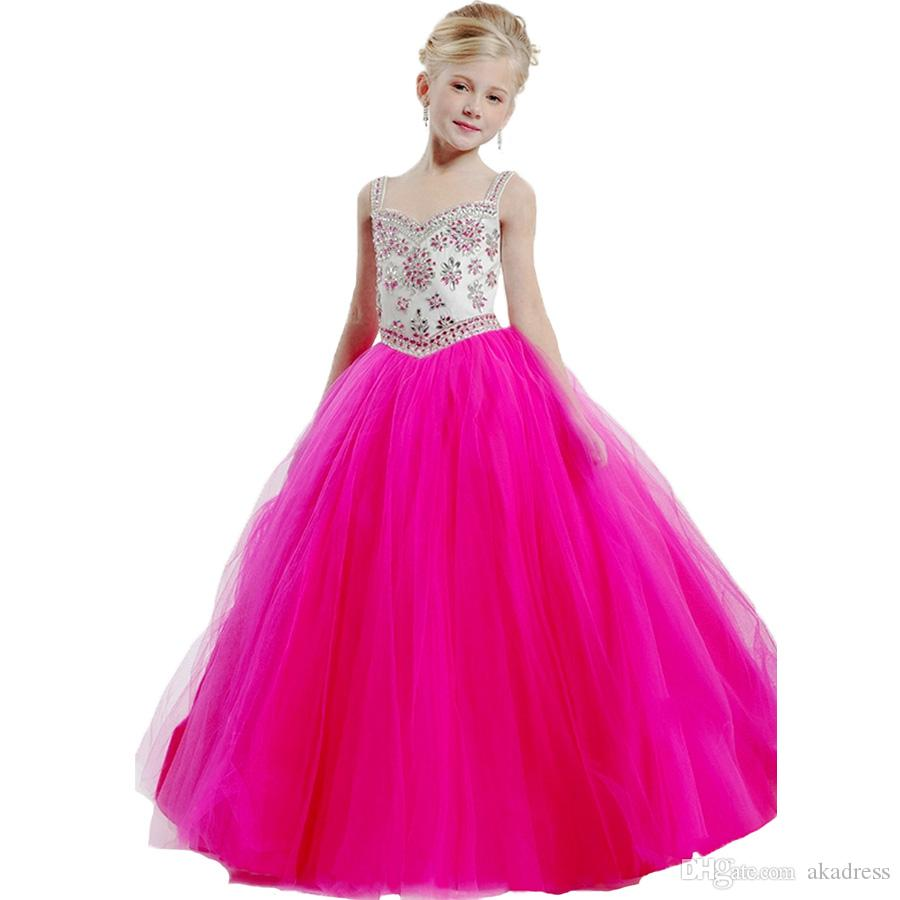 Compre Elegante Rebordear Crystal Blue Hot Pink Little Girl Desfile ...