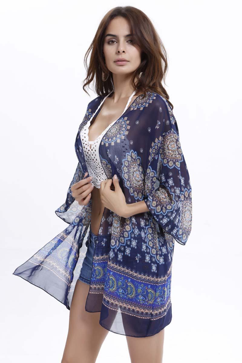 Kimono Boho Chiffon Bluse Frauen Casual Blumendruck Lose Shirts Strand Bikini Vertuschen Tunika Tops Große Blume Peplum Blusas Robe