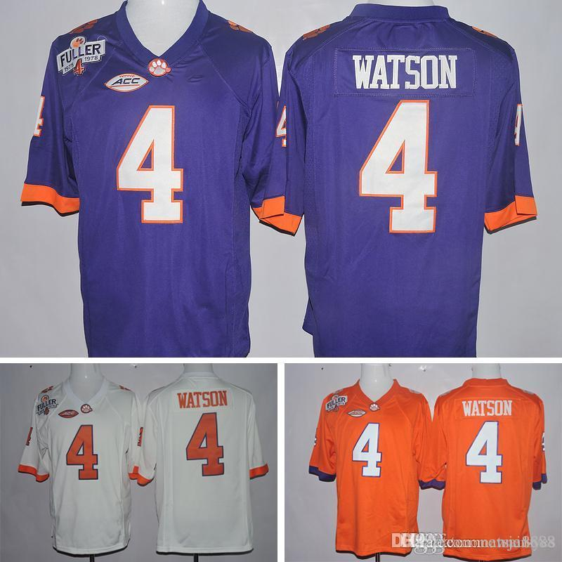sale retailer 8ace3 aa178 Cheap New Style Clemson Tigers #4 Deshaun Watson Steve Fuller ACC Patch  Football Yellow White Purple Jersey Embroidery Logos Stitched Jersey