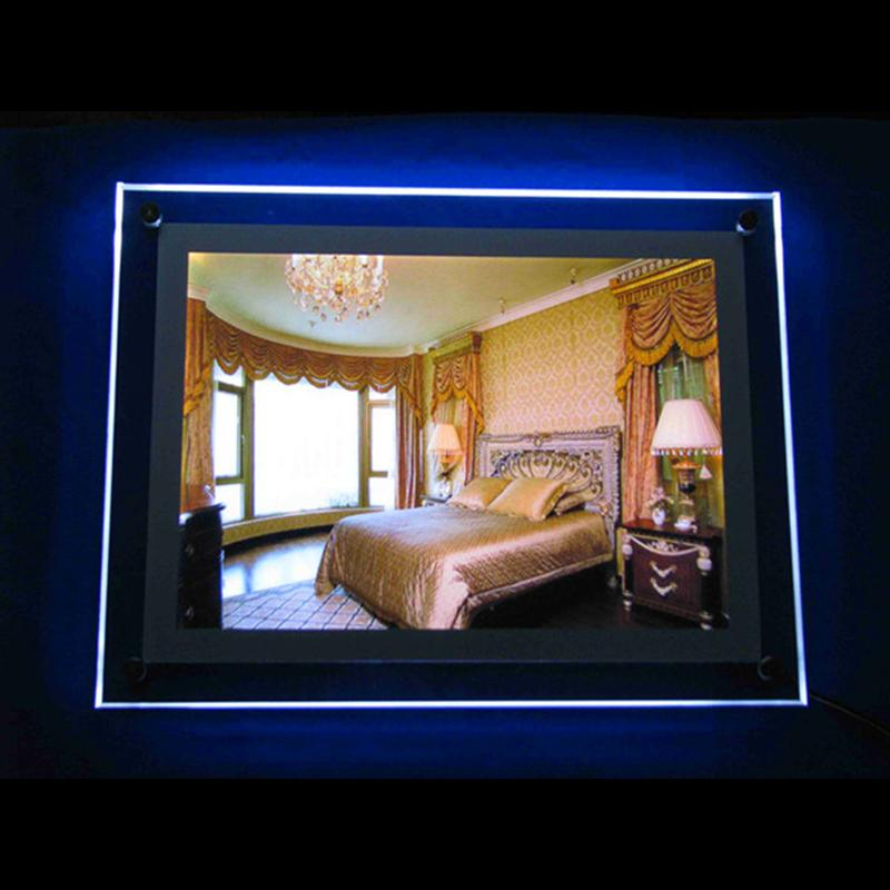 2019 a4 wall mounted advertising display led light box display with acrylic panel led 2835 side. Black Bedroom Furniture Sets. Home Design Ideas