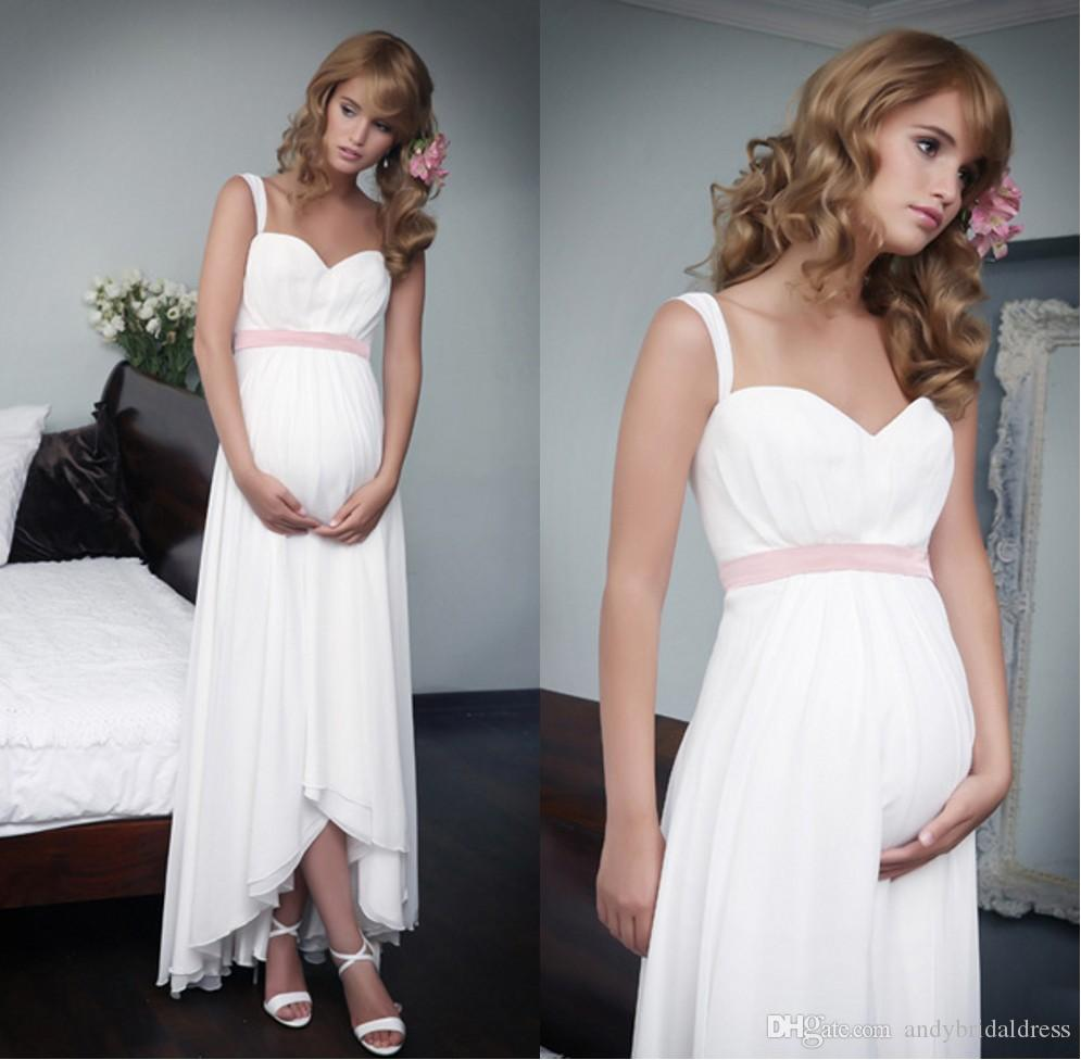 Discount Asmmetrical Tea Length Empire Waist Maternity Wedding Dress Two  Straps Sweetheart Pregnant Bridal Dress Wedding Gown Affordable Bridal Gowns  All ... 2a87bfa6e711