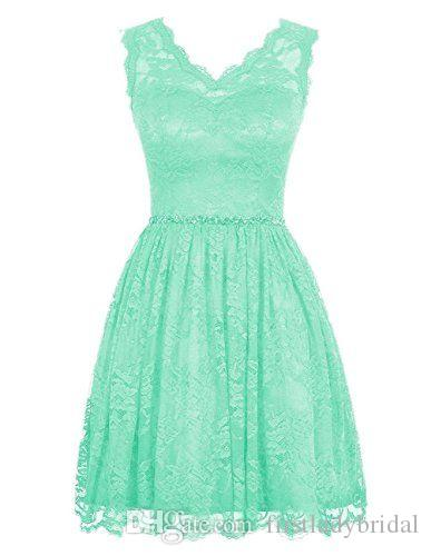 2017 Mint Green Lace Short Bridesmaid Dresses A-line V-neck Real Pictures Maid Of Honor Gowns For Weddings Party Cheap Price
