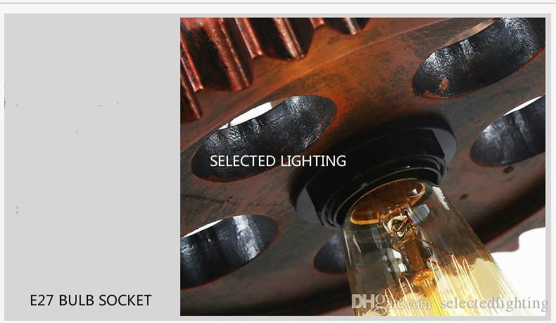 Loft Kolye Işık Parlaklık Tekerlek Dişli Lambaları Oturma Odası Bar Art Decor Için Vintage Sarkıt Retro Demir Kolye Işıkları