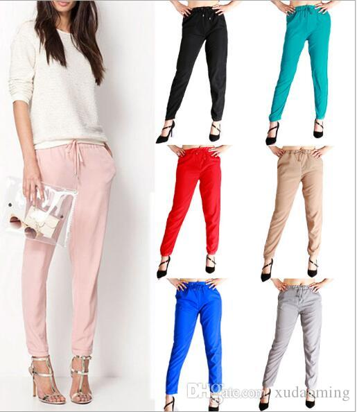 2017 New Pattern Chiffon Will Code Degree Of Tightness Waist Women's Leisure Time Woman Haren Pants Enlarge XXL