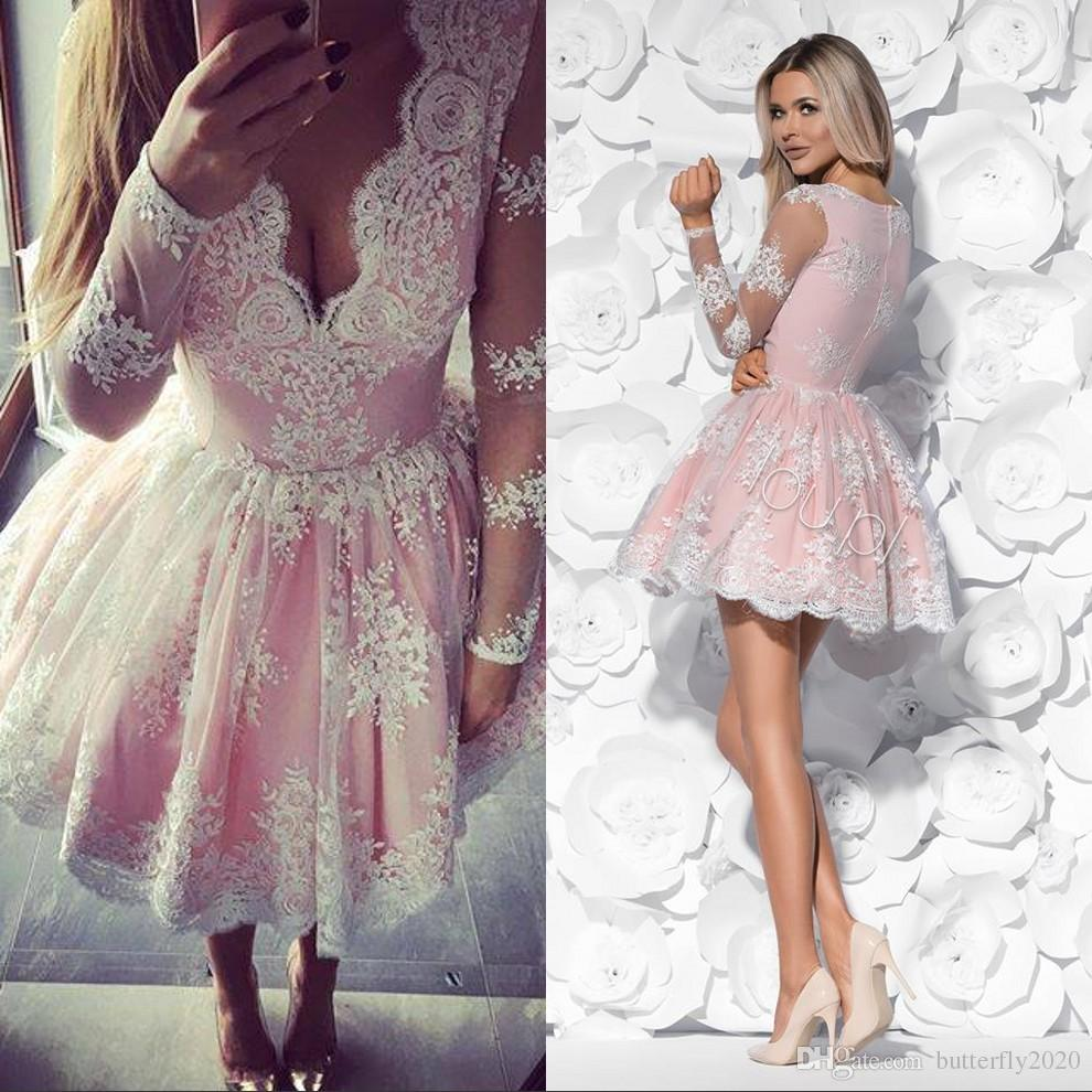 Pink Lace Short Prom Dresses Long Sleeves V Neck Appliques Sheer ...
