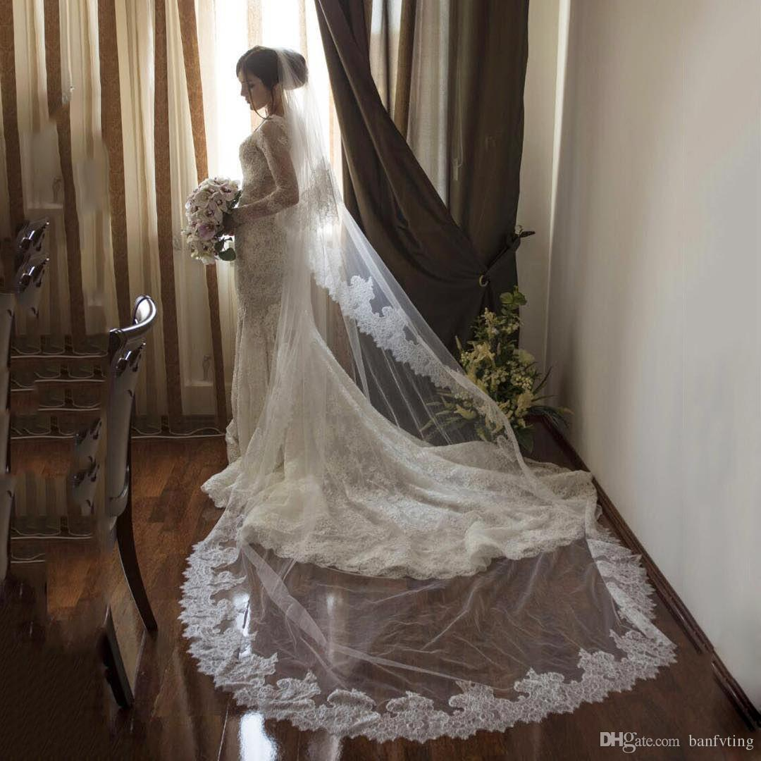 Stylish Wedding Veils Bling Crystals Chapel Long Veil Bridal