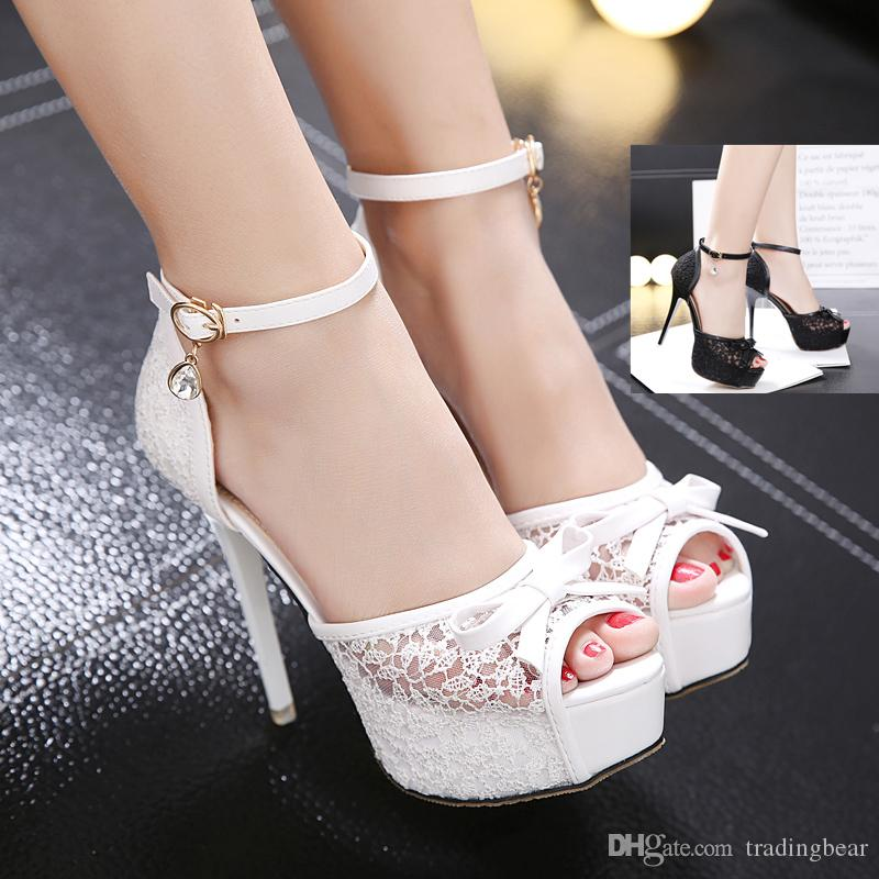 3102486f048 Elegant Bride White Bowtie Lace Wedding Shoes Women High Heels Ankle Strap  Peep Toe Platform Pumps Black Size 34 To 39 Cheap Shoes Online Fashion Shoes  From ...