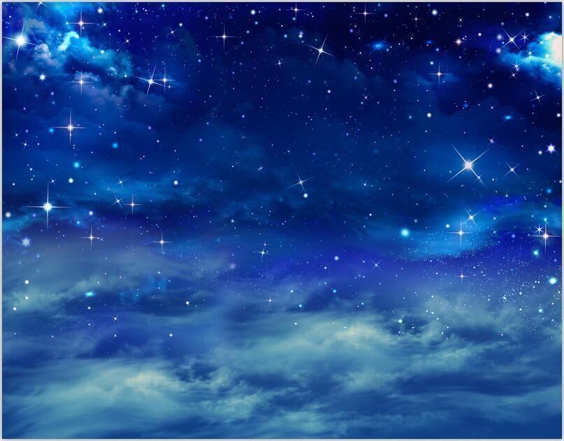 2018 7x5ft Blue Starry Sky Night Clouds Space Custom Photo