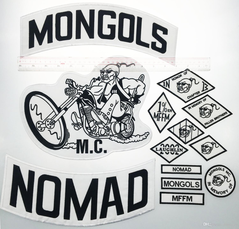 De calidad superior MONGOLES NOMAD MC motorista chaleco bordado Parche 1% MFFM en la memoria hierro en completa espalda de la chaqueta de Motorcyle Patch envío