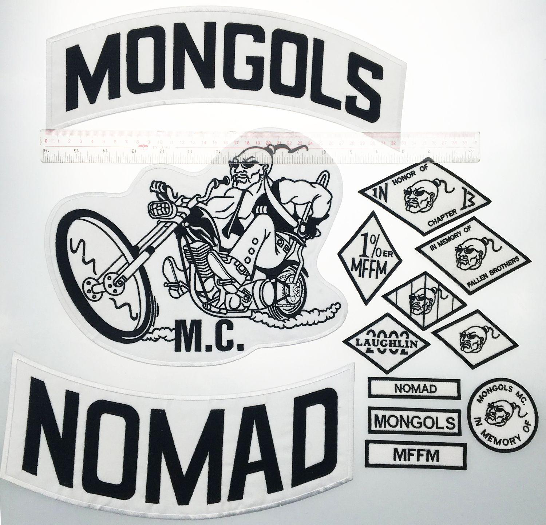 Top Qualität MONGOLS NOMAD MC Biker Weste gestickt Patch 1% MFFM IN Memory Eisen auf der Rückseite der Jacke Motorcyle Patch versandkostenfrei