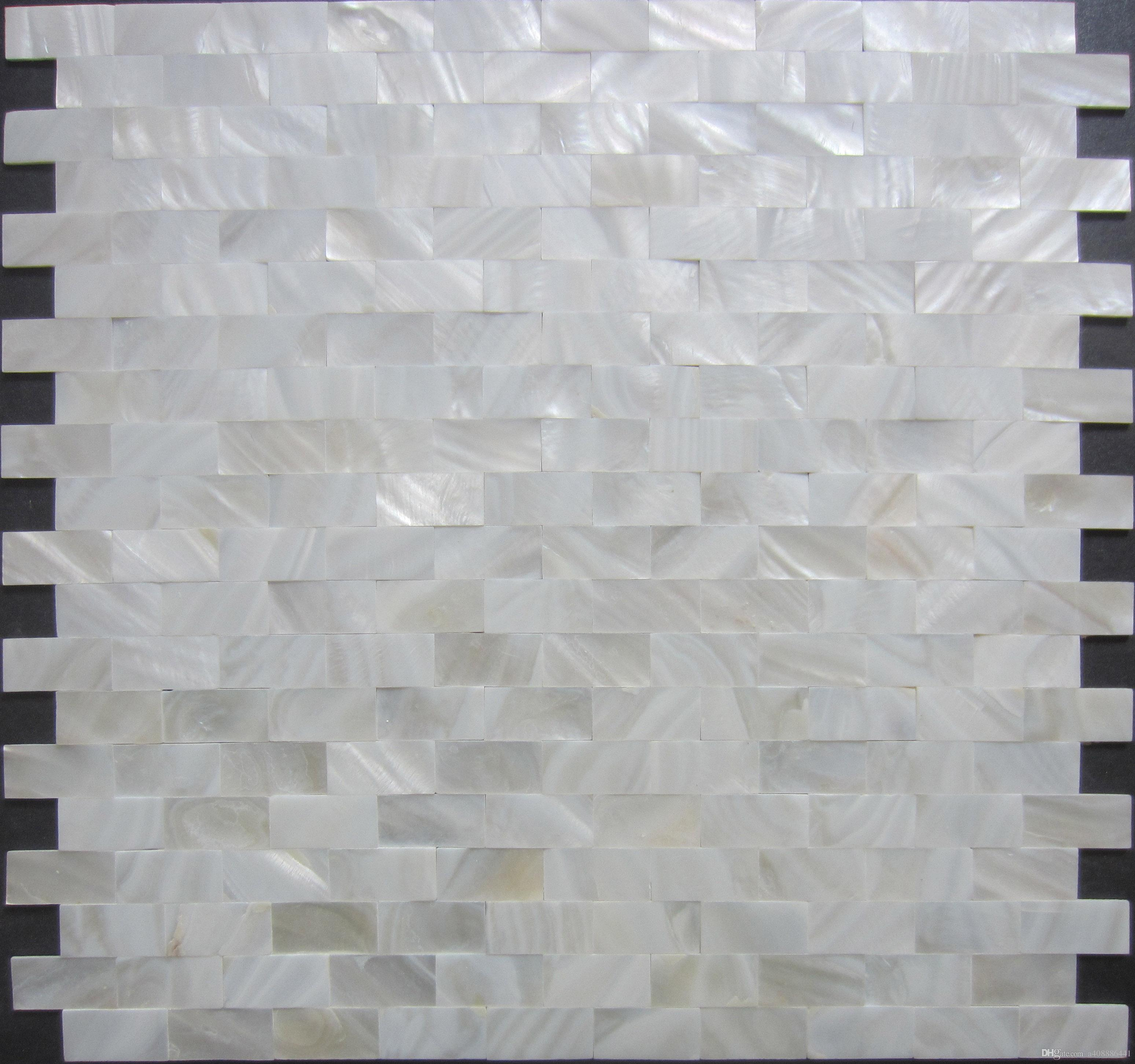Home Mosaics Tiles White Subway Brick Mother Of Pearl Tile Kitchen