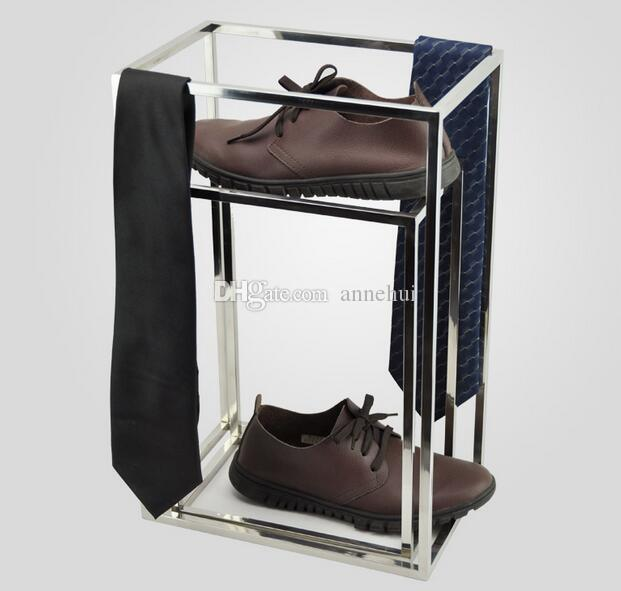 2017 New Clothing Accessory display stand high quality Stainess steel shoes display holder rack for Boutique shoes shop