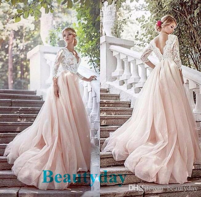 Discount Blush Bohemian Hippie Wedding Dresses Beach A