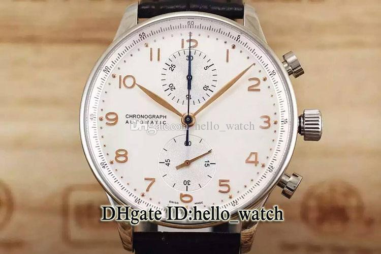 Oferta Especial de Alta Qualidade Portugieser IW371446 Mostrador Branco Azul Escala De Quartzo Chronograph Mens Watch Banda De Couro Relógios Baratos