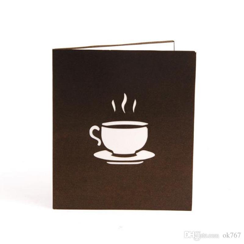 / Carta di invito taglio laser a mano 3D Pop-Up Card Cubic Coffee Cup biglietti d'auguri aziendali