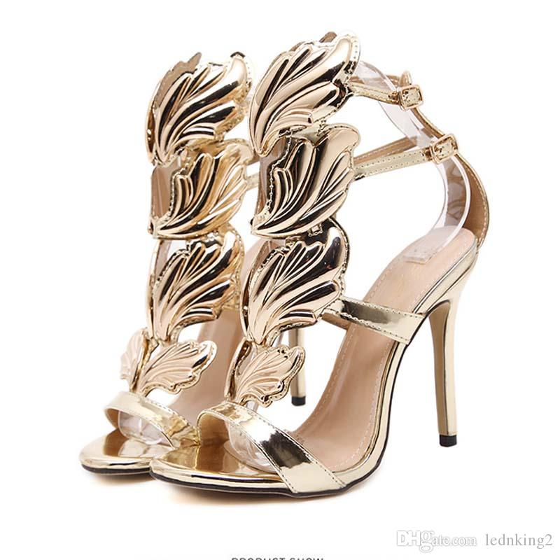New Arrivals Patent Leather flame Leaf Women Sandals Sexy Open Toe Buckle Strap Women HIgh Heels Shoes Women Size 35-40
