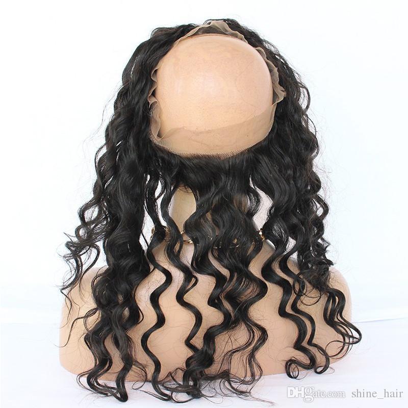 페루 루스 딥 웨이브 360 레이스 밴드 뭉치와 정면 폐쇄 7A 느슨한 웨이브 버진 인간의 머리카락 전체 정면 360 레이스 폐쇄