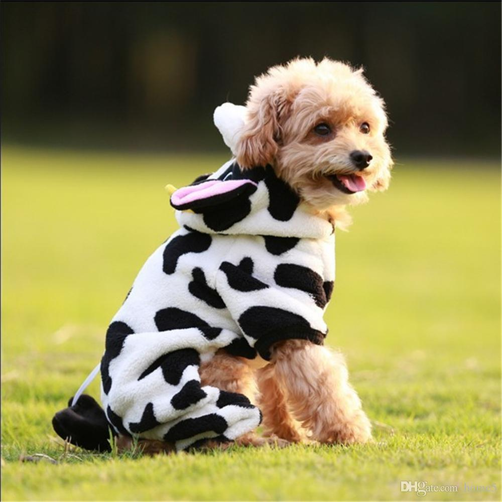 Cute Pet Dog Costume Coral Velvet Cow Style Outfit Puppy Autumn// Winter Cloth 1x