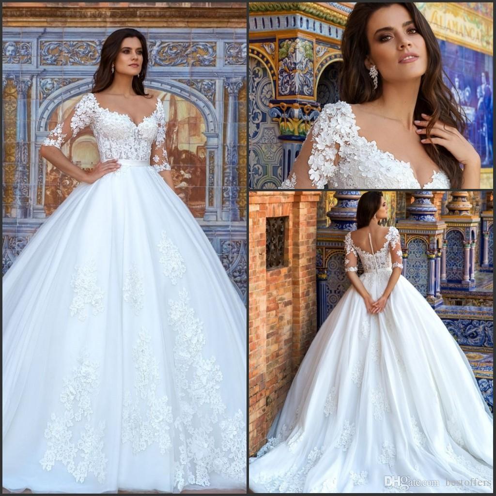 Cheap Wedding Gowns Uk: Discount Half Long Sleeve Elegant Church A Line Wedding
