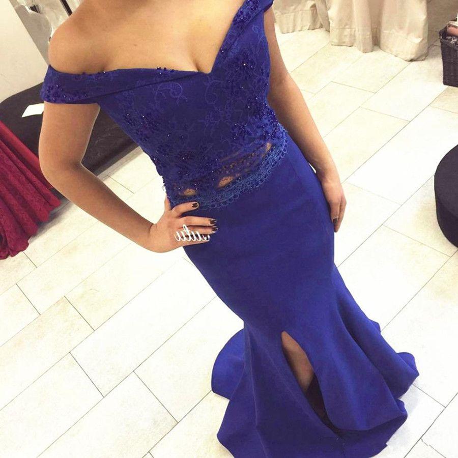 Compre Dos Piezas De Vestidos De Noche De Color Azul Marino Lace Top ...
