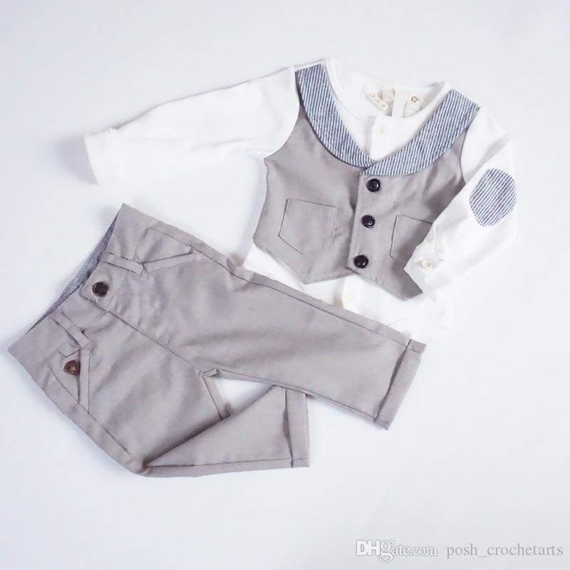 2 adet Set Glitter Beyefendi İngiltere Stil% 100% Pamuk Butik Bebek giysileri En erkek giyim 0 12 ay bebek giysileri 9 M-4Y Bebek Kıyafetler