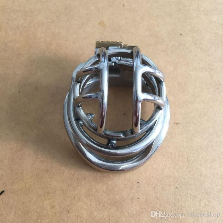 2017 Small Male Bondage Chastity belt Stainless Steel Adult Cock Cage Wth Spike Ring BDSM Sex Toys Chastity Device Short Cage