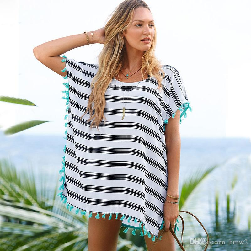 3f3c10ea47c 2019 2017 Women Beach Dress Summer Striped Cover Up Bikini Bathing Suit  Cover Ups Beach Wear Tassel Trim Swimsuit Cover Up Dress From Bmw2, $18.42    DHgate.