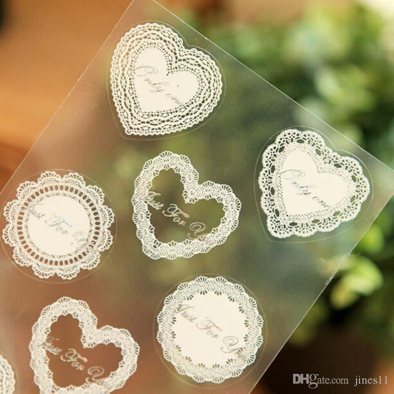 Online cheap 20 sheets plastic lace printing biscuit gift sticker cookie bag sealing stickers diy lace creative sticker sealing print paste by jines11