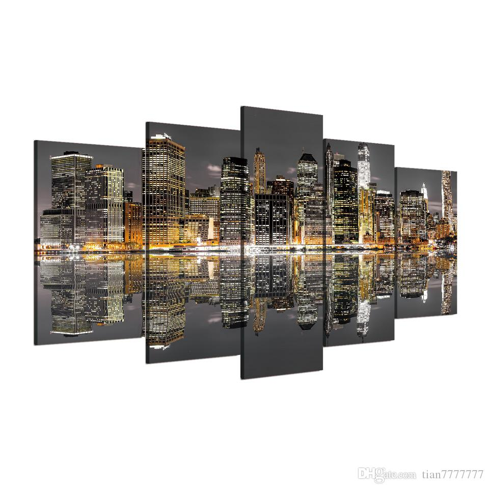 City Building Water Reflection Canvas Painting Unframed Living room Wall Pictures Home decor Print Poster