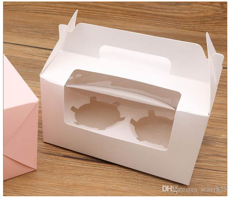 14.7x16.5x9.3cm London circus cupcake boxes with window handles wholesalers Gift Packaging For Festival Party 2 Cup Cake Holders