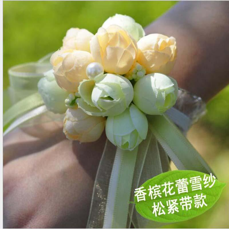 Compre bride wrist flower wedding boutonniere champagne rose groom 15 junglespirit Images