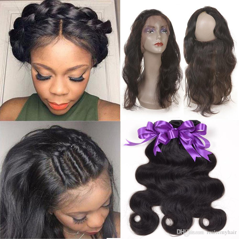 Passion Remy Hair 360 Lace Front Closure With Bundles For Black Women  Brazilian Virgin Human Hair Body Wave 360 Lace Frontal With Baby Hair Sew In  Weave ... 3ad9e5daf